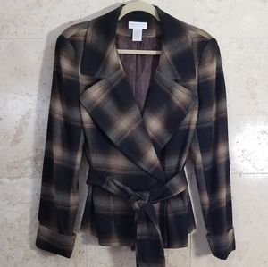 Worthington Stretch Plaid V Neck Pea Coat